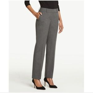 Ann Taylor Gray Signature Straight Leg Pants In 0P